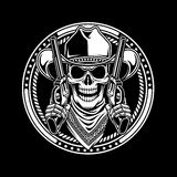 Cowboy Skull hold guns. Fully editable vector illustration (editable EPS) of cowboy skull hold guns on black background, image suitable for crest, emblem Royalty Free Stock Photos