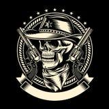 Cowboy Skull med handeldvapen Arkivfoton