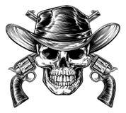 Cowboy Skull och pistoler royaltyfri illustrationer