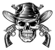 Cowboy Skull and Pistols. Skull cowboy in western hat and a pair of crossed gun revolver handgun six shooter pistols. Drawn in a vintage retro woodcut etched or royalty free illustration