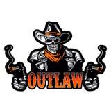Cowboy Skull With Revolver Stock Foto's