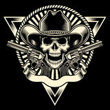 Cowboy Skull With Revolver. Fully editable vector illustration of cowboy skull with revolver on isolated black background, image suitable for emblem, insignia Stock Image