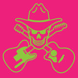 Cowboy Skull Vector Design. Skull with cowboy hat and crossed guitars. Editable  design Royalty Free Stock Images