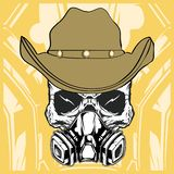 ca67c4000dd25 ... stylish fedora hat · Cowboy skull wearing respiration vector vector  illustration