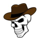 Cowboy skull wearing a stylish fedora hat Stock Photo