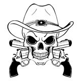 Cowboy skull in a western hat and a pair of crossed guns stock illustration