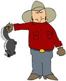 Cowboy With A Skunk. This illustration depicts a man holding a skunk up by its tail Stock Photos
