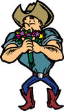 Cowboy smelling flowers. Large Cowboy smelling colorful flowers Royalty Free Stock Photos
