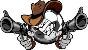 Cowboy Soccer Cartoon Shootout. Soccer Ball Cartoon Face with Cowboy Hat Holding and Aiming Guns Stock Photo