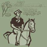 Cowboy som samlas får Arkivbilder