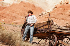 Cowboy spirit. SOUTH WEST - A cowboy takes time to rest and reflect stock photos