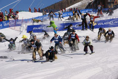 Cowboy Stampede - mass start of skiing cowboys stock images
