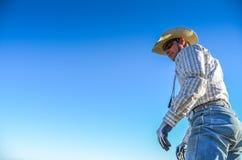 Cowboy Standing Tall Royaltyfria Foton