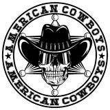 Cowboy star var 35. Vector illustration skull with sunglasses in cowboy hat on sheriff star. Lettering american cowboys Stock Photos