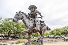 Cowboy statue in the city of Dallas Royalty Free Stock Photo