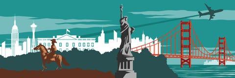 Cowboy staty av den berömda gränsmärket för frihet och Golden gate bridge royaltyfri illustrationer