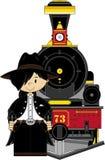 Cowboy and Steam Train Stock Photos