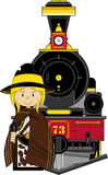 Cowboy and Steam Train Stock Photography