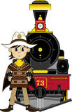 Cowboy and Steam Train Royalty Free Stock Images
