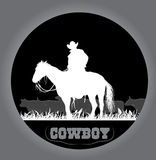 Cowboy sticker. Sticker cowboy and a herd of cows on the prairie Stock Images