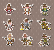 Cowboy stickers. Cartoon vector illustration Stock Images