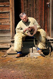 Cowboy on Stoop royalty free stock images
