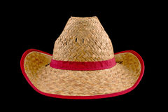 Cowboy straw hat. Traditional American Cowboy straw hat isolated on black background. Farmer accessory Stock Images