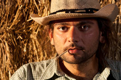 Cowboy with Straw in His Mouth royalty free stock photography
