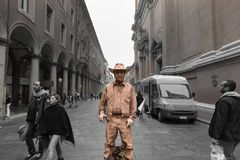 Cowboy street art performer in bologna Italy Royalty Free Stock Image