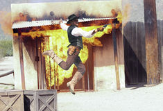 A Cowboy Stuntman Performs at Old Tucson Royalty Free Stock Images