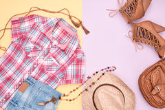 Cowboy style. Summer Fashion girl clothes set. Royalty Free Stock Photography