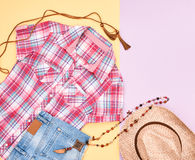 Cowboy style. Summer Fashion girl clothes set. Royalty Free Stock Image