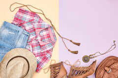 Cowboy style. Summer Fashion girl clothes set. Royalty Free Stock Photos