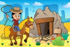 Cowboy sull'immagine 3 di tema del cavallo Immagine Stock