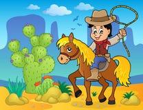 Cowboy sull'immagine 2 di tema del cavallo Fotografia Stock
