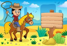 Cowboy sull'immagine 4 di tema del cavallo Immagini Stock