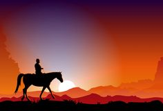 Cowboy at Sunset. Vector illustration of the cowboy riding a horse in the dusk Stock Image