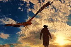 Cowboy at sunset background with an eagle - 3D rendering. Illustration of a cowboy at sunset with an eagle - 3D rendering Royalty Free Stock Photography