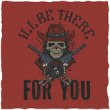 Cowboy t-shirt label design with illustration of skull ath the hat with two guns at the hands. Royalty Free Stock Image