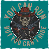Cowboy t-shirt label design with illustration of skull ath the hat with two guns at the hands. Royalty Free Stock Photography