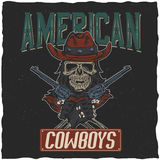 Cowboy t-shirt label design with illustration of skull ath the hat with two guns at the hands. Hand drawn illustration Royalty Free Stock Images