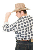 Cowboy takes off his hat. Royalty Free Stock Photography