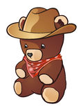 Cowboy Teddy Bear. He is a drifter, a real western man! He is rough, tough and roudy! He wears a big hat and a red bandanna because he is a COWBOY TEDDY BEAR Royalty Free Stock Photo