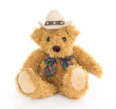 Cowboy teddy bear sitting on white Stock Photo