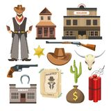 Cowboy template vector flat colorful sign symbols poster Royalty Free Stock Image