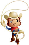 Cowboy throwing lasso. Chibi style rodeo mascot, Wild West series vector illustration Stock Photo