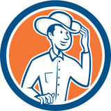 Cowboy Tipping Hat Circle Cartoon Royalty Free Stock Photography