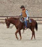 Cowboy training a horse II. A cowboy is training his horse in western style stock photography