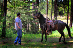 Cowboy Training Nice Horse Fotografie Stock Libere da Diritti