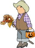 Cowboy trick-or-treater vector illustration